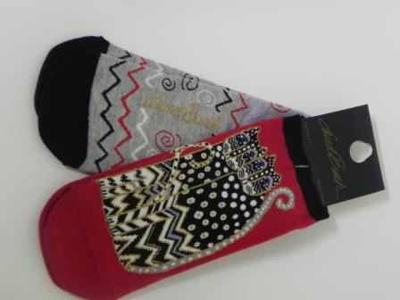 Laurel Burch Red Cat Socks