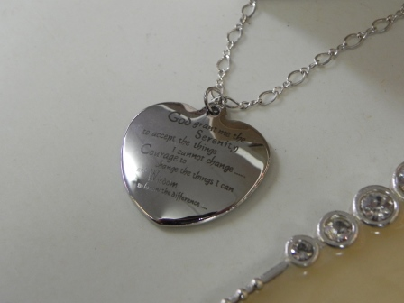 Serenity Prayer Heart Necklace