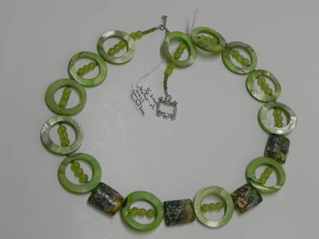Green Mother of Pearl, Quartz, Painted Glass  22 inches   $49